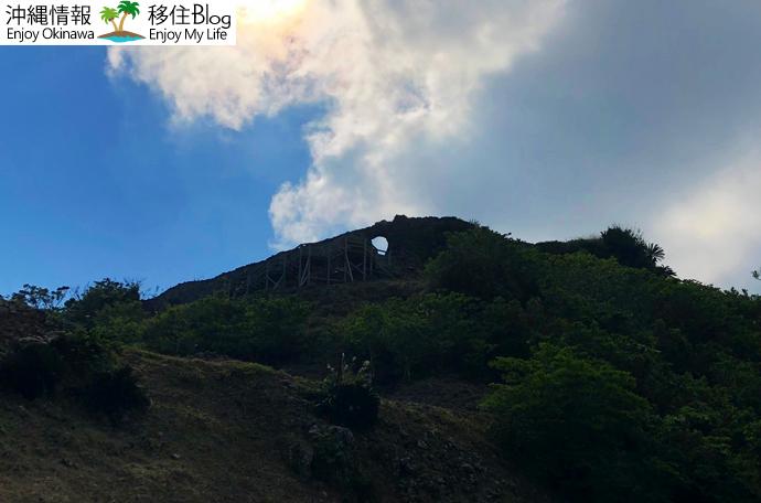 月が空に浮かんでいるように見える城門